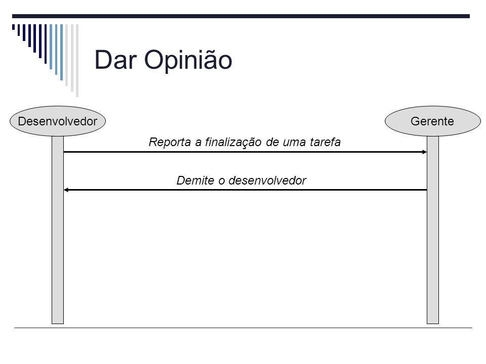 Dar Opinião Desenvolvedor Gerente Reporta a finalização de uma tarefa