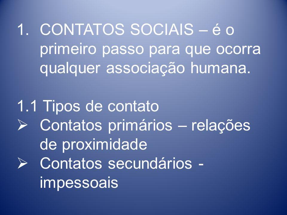 CONTATOS SOCIAIS – é o primeiro passo para que ocorra qualquer associação humana.