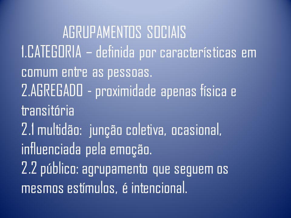 AGRUPAMENTOS SOCIAIS CATEGORIA – definida por características em comum entre as pessoas. AGREGADO - proximidade apenas física e transitória.