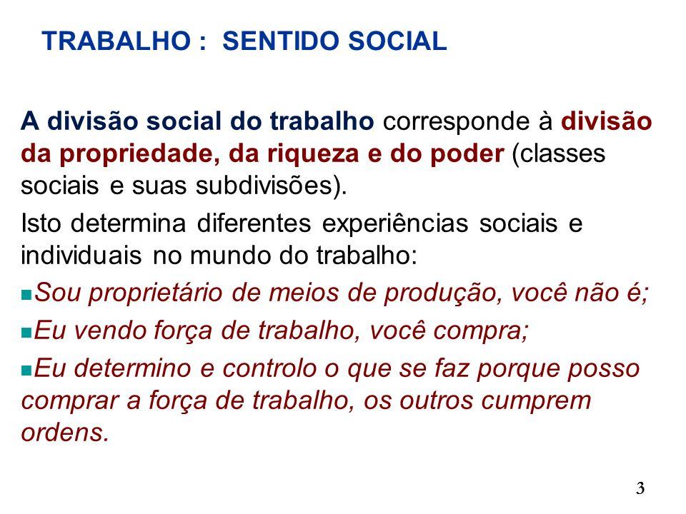 TRABALHO : SENTIDO SOCIAL