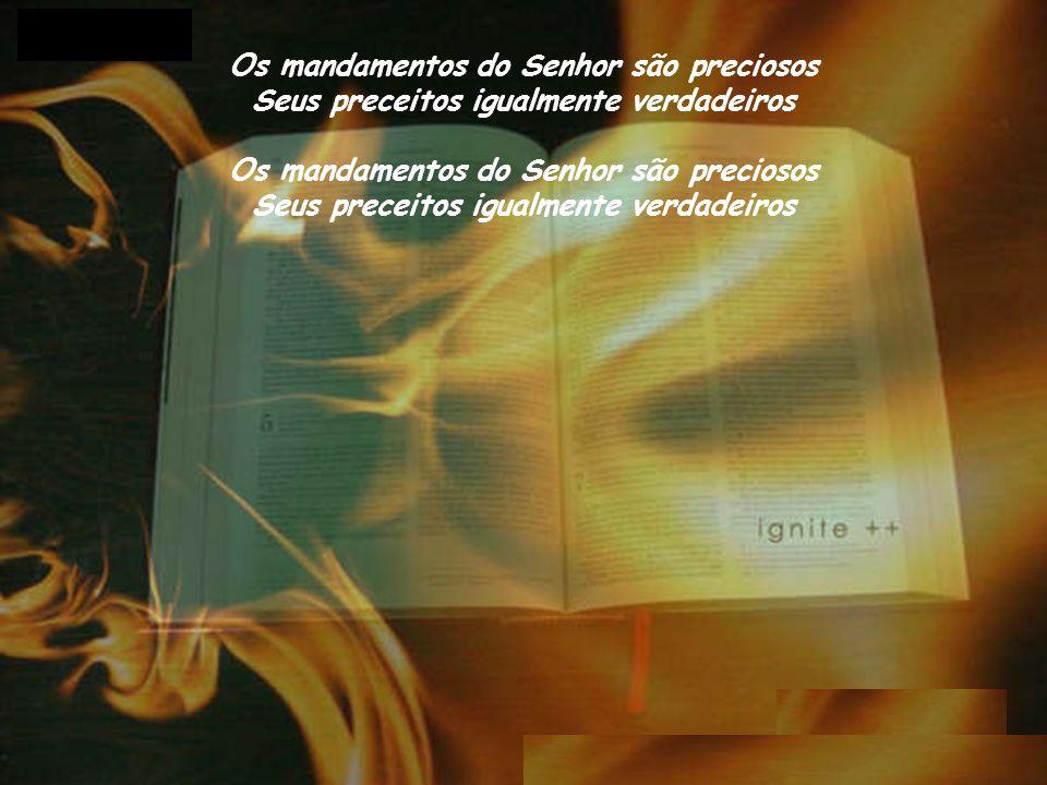 Os mandamentos do Senhor são preciosos Seus preceitos igualmente verdadeiros Os mandamentos do Senhor são preciosos Seus preceitos igualmente verdadeiros