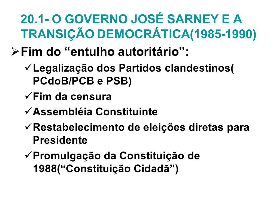 20.1- O GOVERNO JOSÉ SARNEY E A TRANSIÇÃO DEMOCRÁTICA(1985-1990)