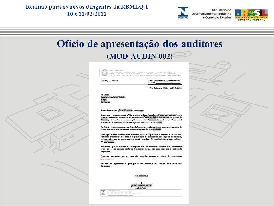 Ofício de apresentação dos auditores