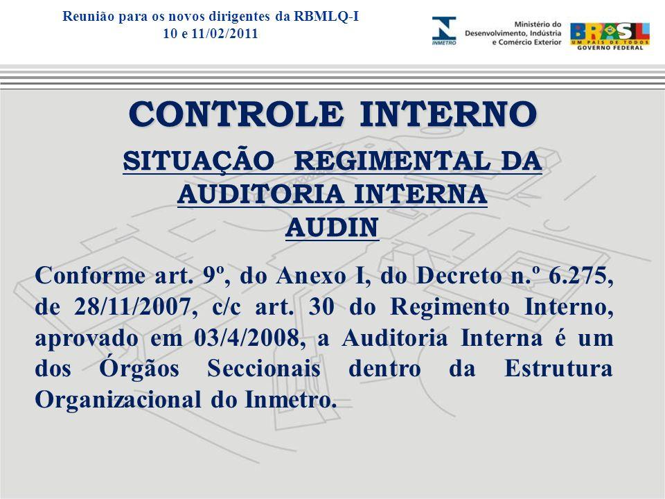 Reunião para os novos dirigentes da RBMLQ-I SITUAÇÃO REGIMENTAL DA
