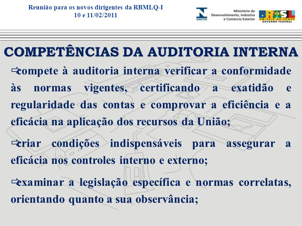 COMPETÊNCIAS DA AUDITORIA INTERNA