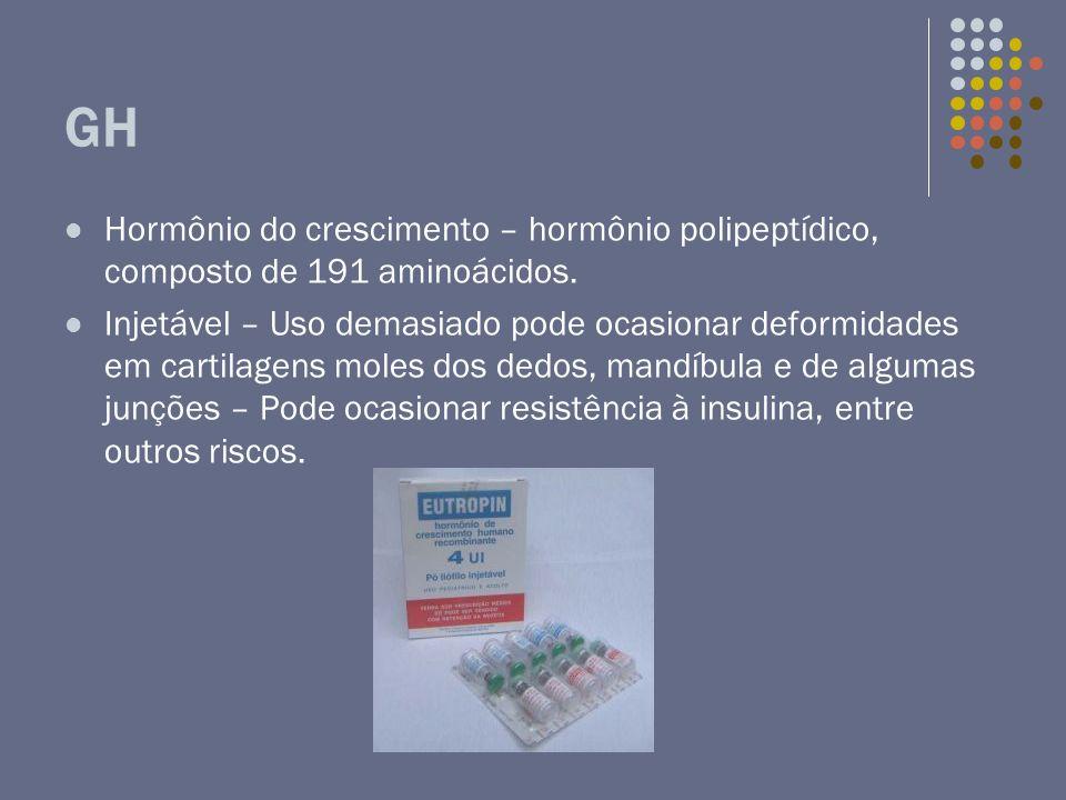 GH Hormônio do crescimento – hormônio polipeptídico, composto de 191 aminoácidos.