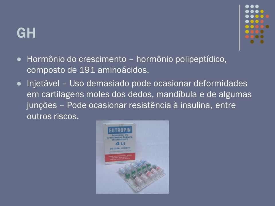 GHHormônio do crescimento – hormônio polipeptídico, composto de 191 aminoácidos.