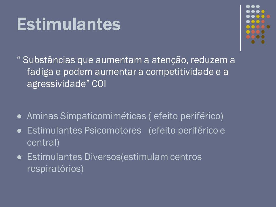 Estimulantes Substâncias que aumentam a atenção, reduzem a fadiga e podem aumentar a competitividade e a agressividade COI.