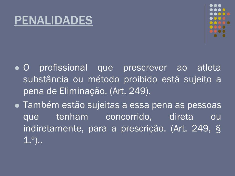 PENALIDADES O profissional que prescrever ao atleta substância ou método proibido está sujeito a pena de Eliminação. (Art. 249).