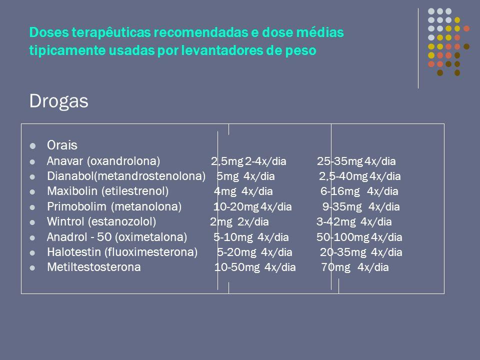 Doses terapêuticas recomendadas e dose médias tipicamente usadas por levantadores de peso
