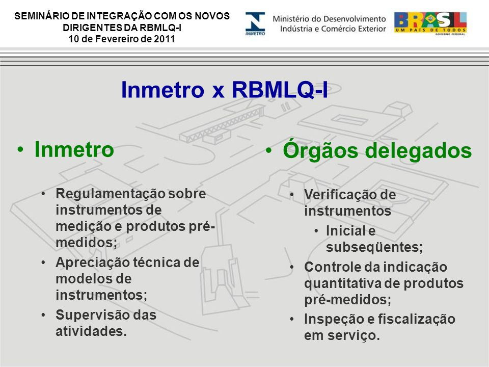 Inmetro x RBMLQ-I Inmetro Órgãos delegados