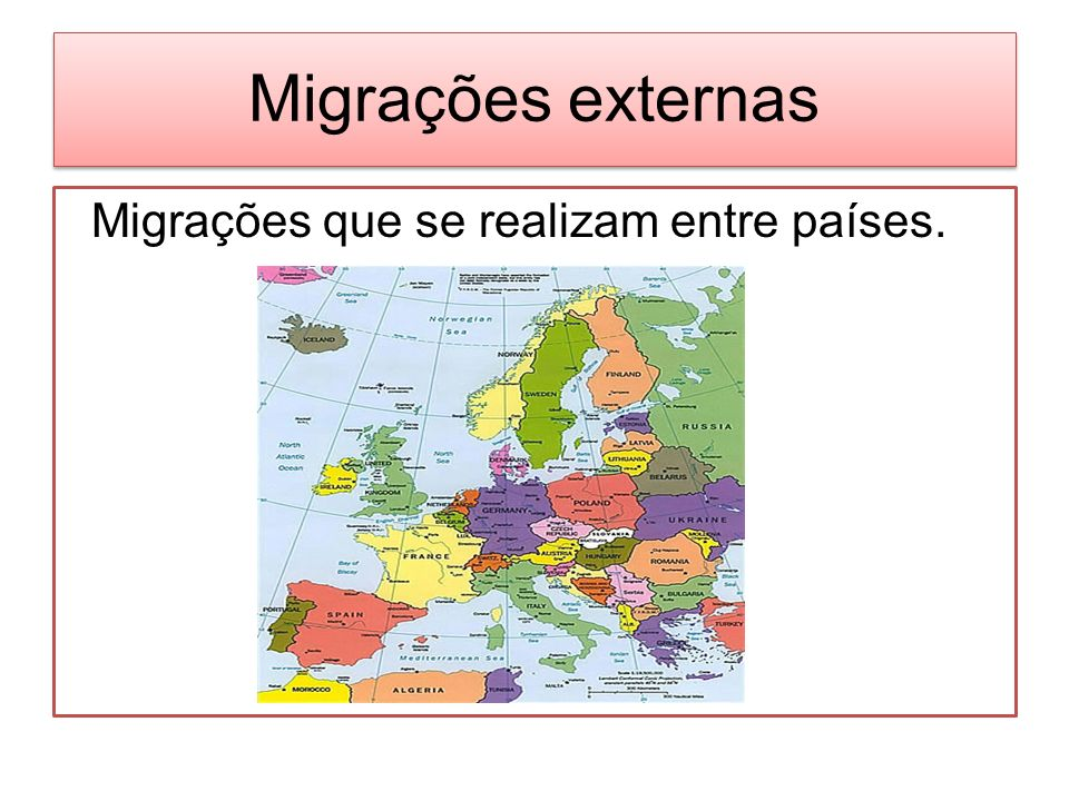Migrações externas Migrações que se realizam entre países.
