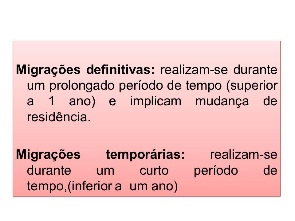 Migrações definitivas: realizam-se durante um prolongado período de tempo (superior a 1 ano) e implicam mudança de residência.