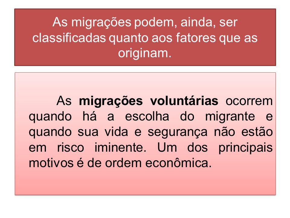 As migrações podem, ainda, ser classificadas quanto aos fatores que as originam.