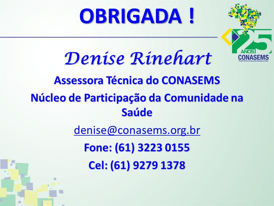 OBRIGADA ! Denise Rinehart Assessora Técnica do CONASEMS