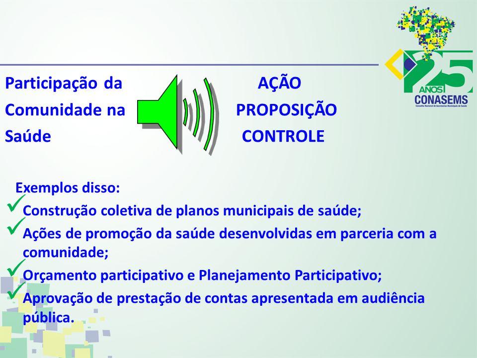 Comunidade na PROPOSIÇÃO Saúde CONTROLE