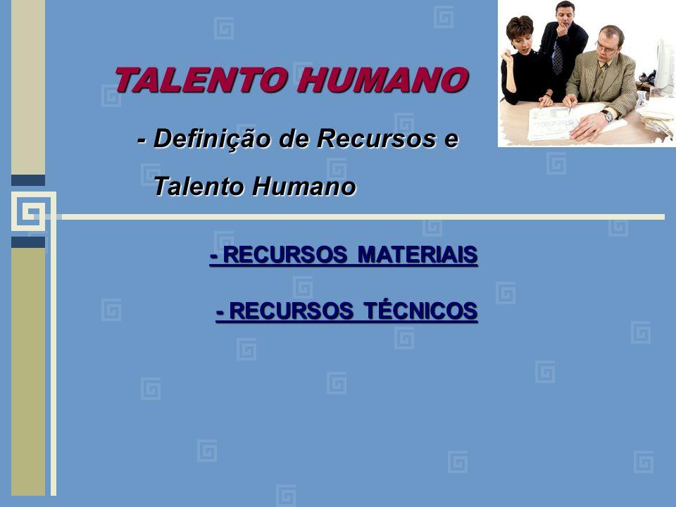 TALENTO HUMANO - Definição de Recursos e Talento Humano