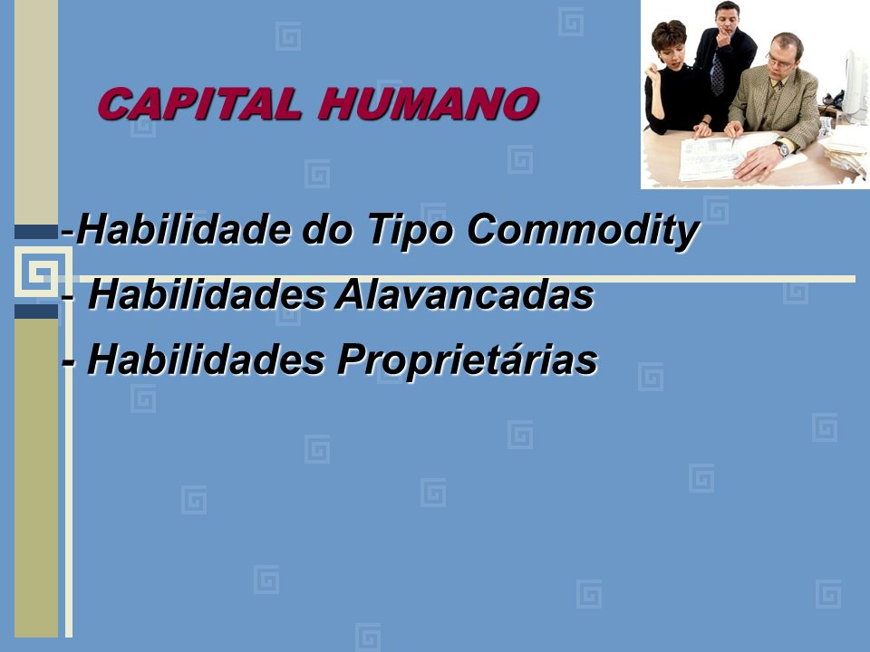 CAPITAL HUMANO Habilidade do Tipo Commodity Habilidades Alavancadas
