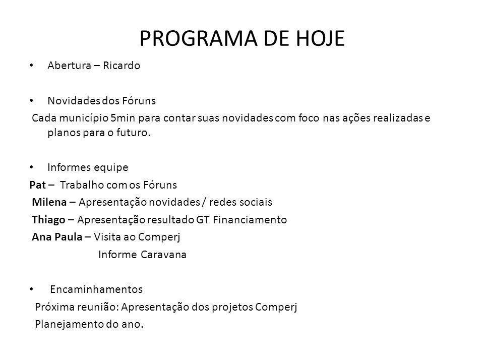 PROGRAMA DE HOJE Abertura – Ricardo Novidades dos Fóruns