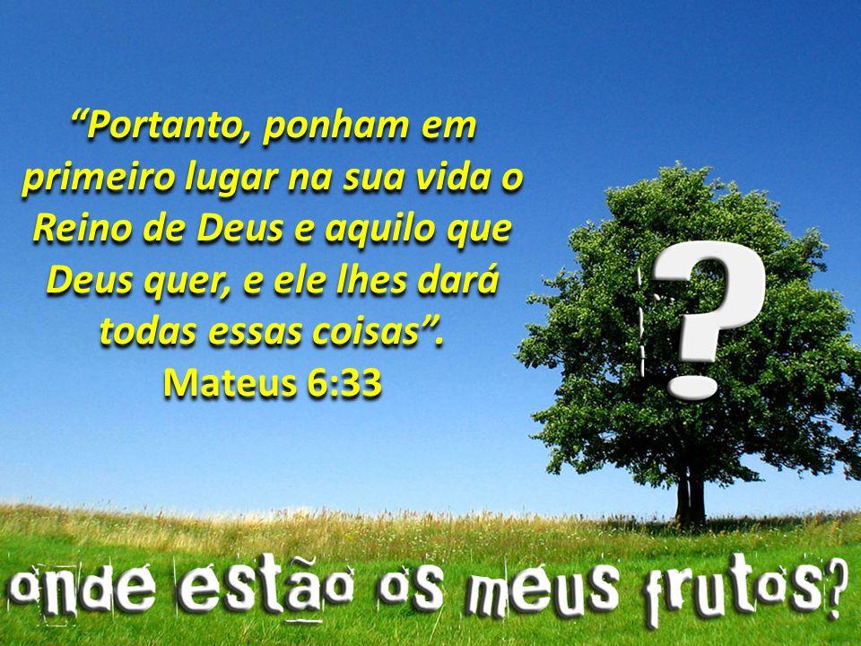 Portanto, ponham em primeiro lugar na sua vida o Reino de Deus e aquilo que Deus quer, e ele lhes dará todas essas coisas .