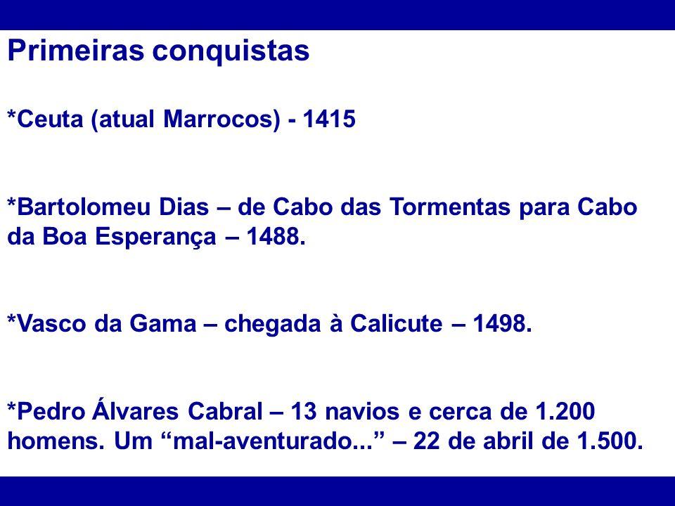Primeiras conquistas *Ceuta (atual Marrocos) - 1415