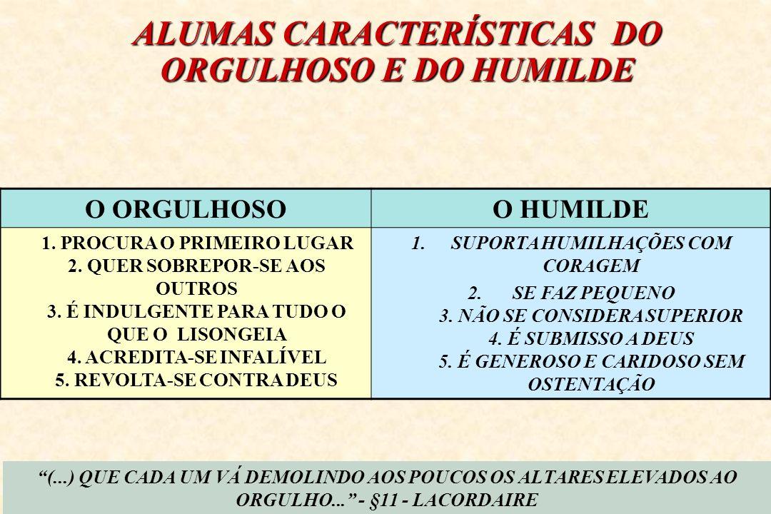 ALUMAS CARACTERÍSTICAS DO ORGULHOSO E DO HUMILDE