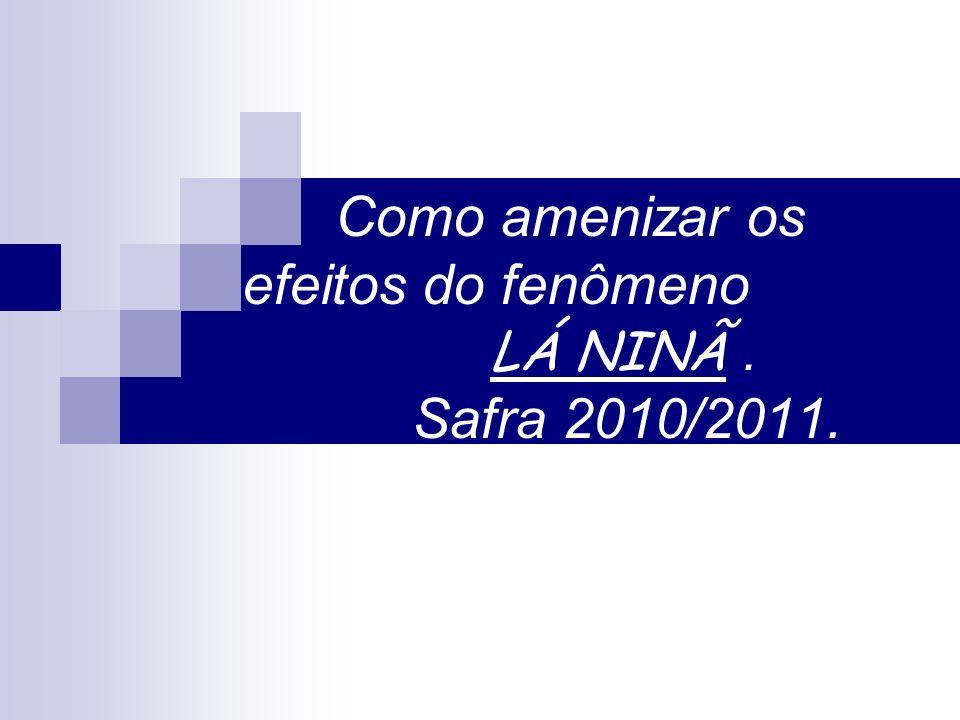 Como amenizar os efeitos do fenômeno LÁ NINÃ . Safra 2010/2011.
