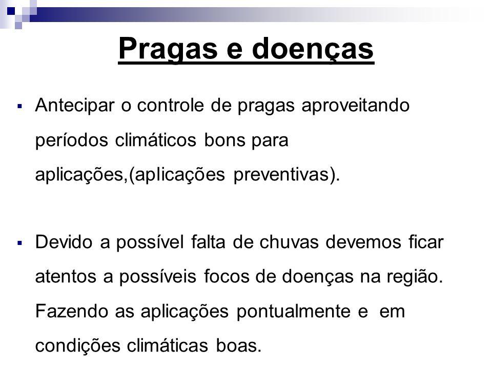Pragas e doenças Antecipar o controle de pragas aproveitando períodos climáticos bons para aplicações,(aplicações preventivas).