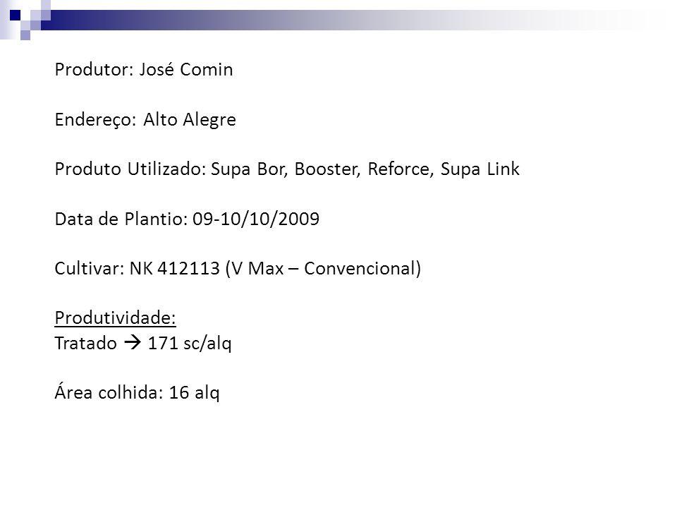 Produtor: José Comin Endereço: Alto Alegre. Produto Utilizado: Supa Bor, Booster, Reforce, Supa Link.