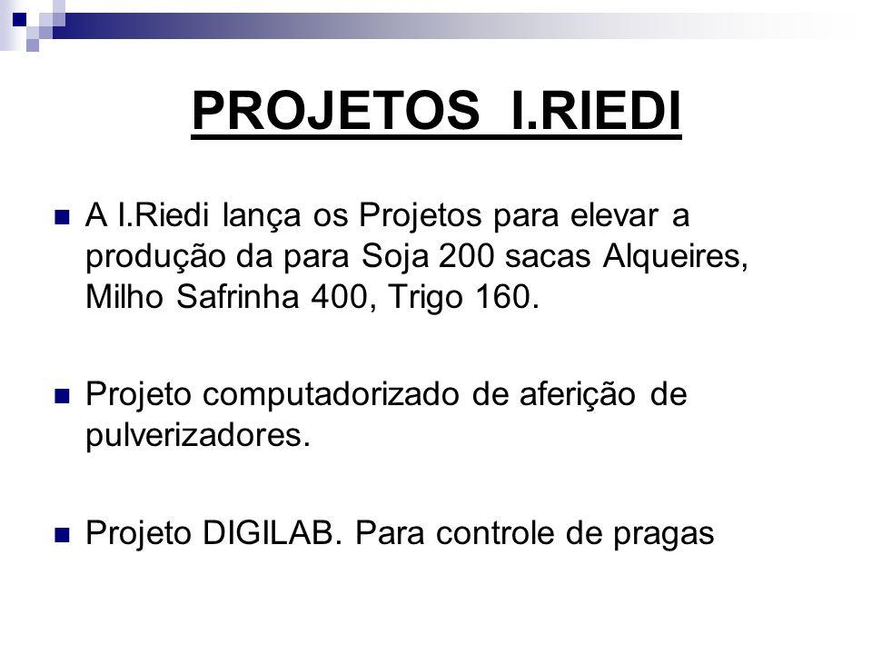 PROJETOS I.RIEDI A I.Riedi lança os Projetos para elevar a produção da para Soja 200 sacas Alqueires, Milho Safrinha 400, Trigo 160.