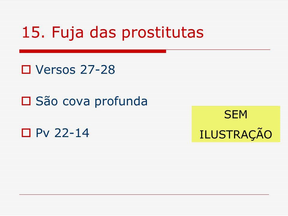 15. Fuja das prostitutas Versos 27-28 São cova profunda Pv 22-14 SEM