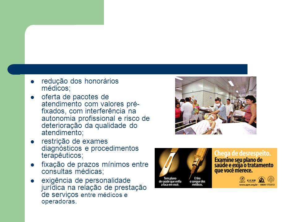 redução dos honorários médicos;