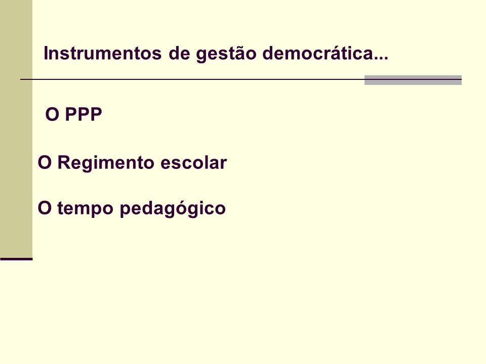O PPP O Regimento escolar O tempo pedagógico