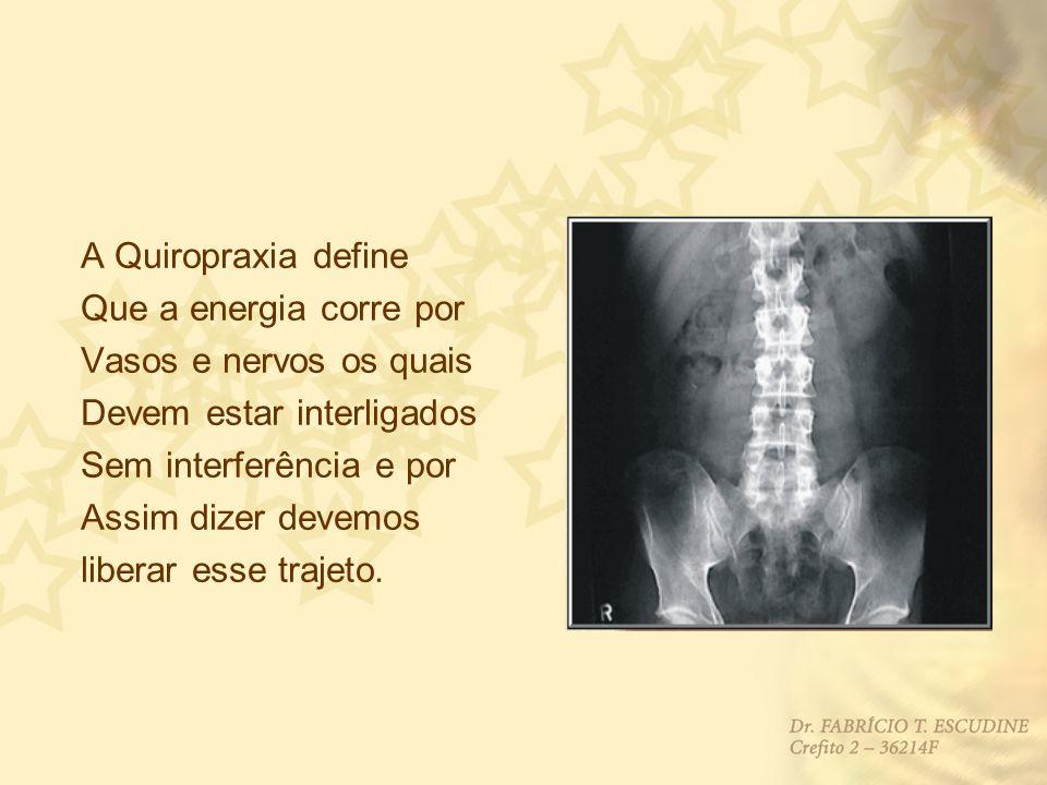 A Quiropraxia define Que a energia corre por. Vasos e nervos os quais. Devem estar interligados. Sem interferência e por.