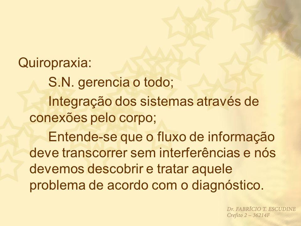 Quiropraxia: S.N. gerencia o todo; Integração dos sistemas através de conexões pelo corpo;