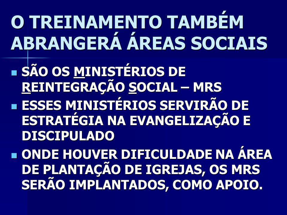 O TREINAMENTO TAMBÉM ABRANGERÁ ÁREAS SOCIAIS