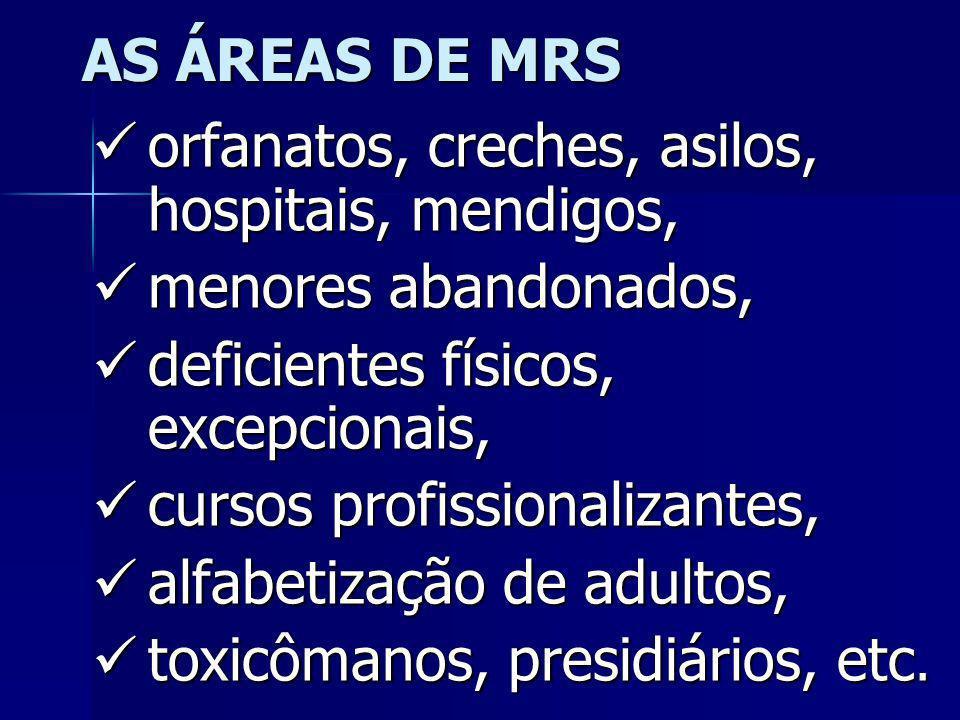 AS ÁREAS DE MRSorfanatos, creches, asilos, hospitais, mendigos, menores abandonados, deficientes físicos, excepcionais,