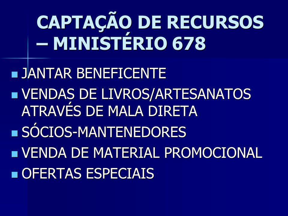 CAPTAÇÃO DE RECURSOS – MINISTÉRIO 678