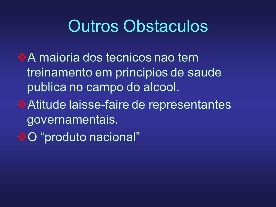 Outros ObstaculosA maioria dos tecnicos nao tem treinamento em principios de saude publica no campo do alcool.