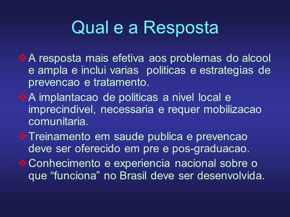 Qual e a RespostaA resposta mais efetiva aos problemas do alcool e ampla e inclui varias politicas e estrategias de prevencao e tratamento.