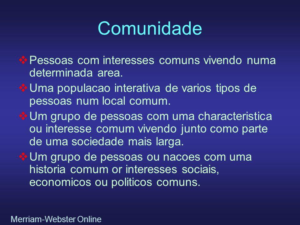 Comunidade Pessoas com interesses comuns vivendo numa determinada area. Uma populacao interativa de varios tipos de pessoas num local comum.
