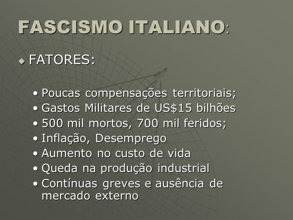 FASCISMO ITALIANO: FATORES: Poucas compensações territoriais;