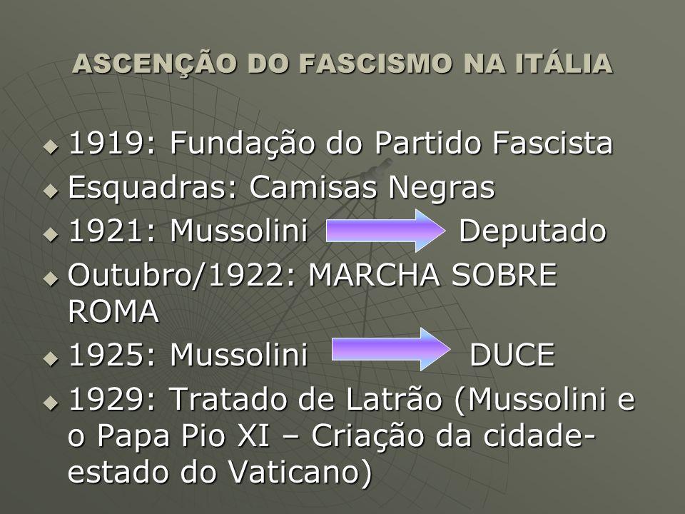 ASCENÇÃO DO FASCISMO NA ITÁLIA