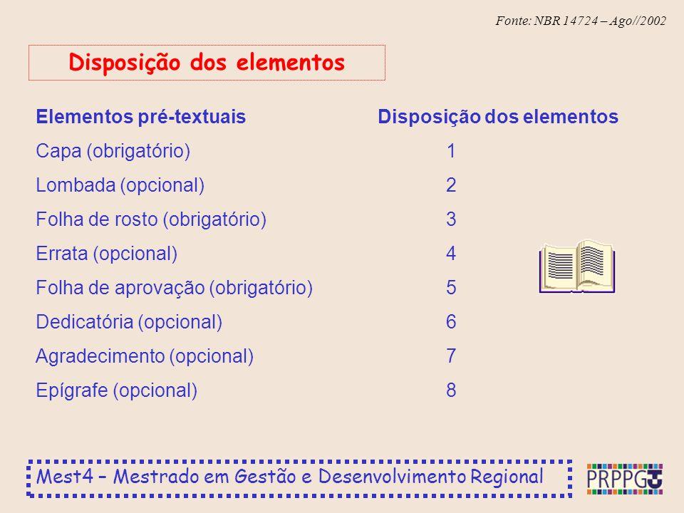 Disposição dos elementos