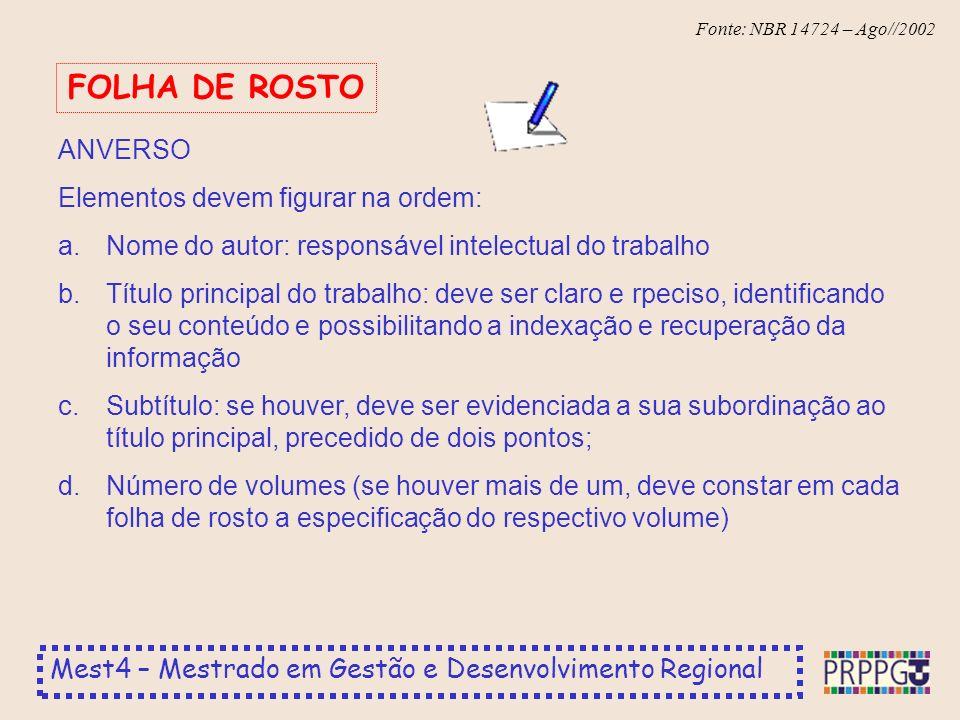 FOLHA DE ROSTO ANVERSO Elementos devem figurar na ordem: