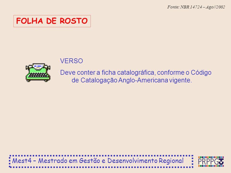 FOLHA DE ROSTO VERSO.
