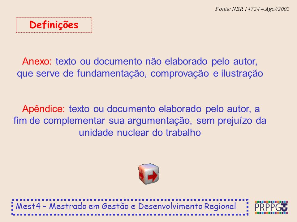 Definições Anexo: texto ou documento não elaborado pelo autor, que serve de fundamentação, comprovação e ilustração.