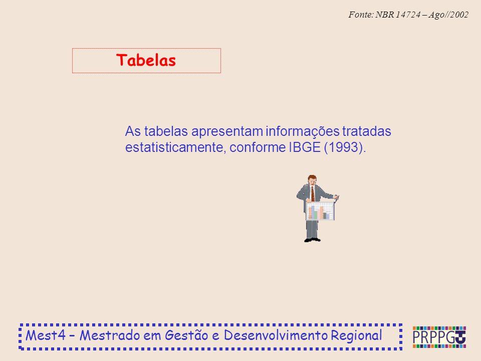 Tabelas As tabelas apresentam informações tratadas estatisticamente, conforme IBGE (1993).