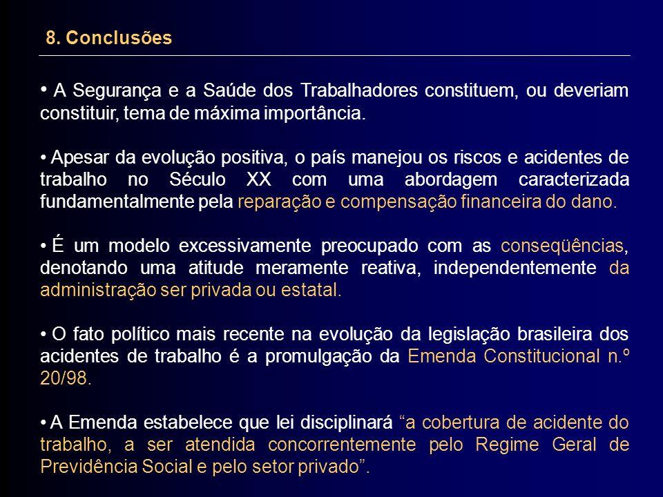 8. Conclusões A Segurança e a Saúde dos Trabalhadores constituem, ou deveriam constituir, tema de máxima importância.