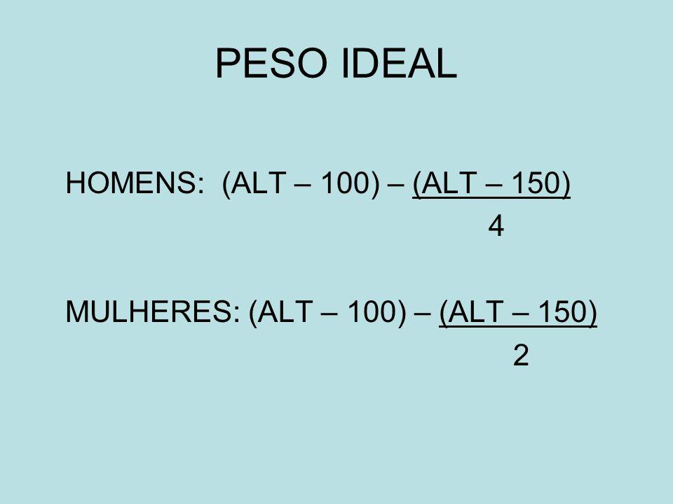 PESO IDEAL HOMENS: (ALT – 100) – (ALT – 150) 4